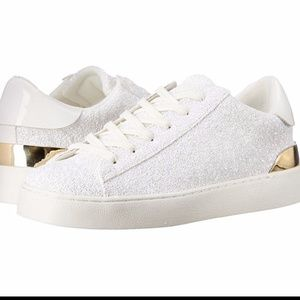 Nine West Palyla Sneakers White Sparkle Gold 7